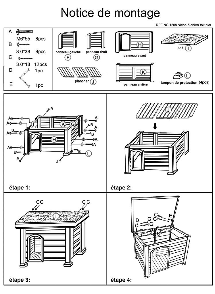 Niche pour chien burg toit plat m prix - Comment fabriquer une niche pour chien facilement ...